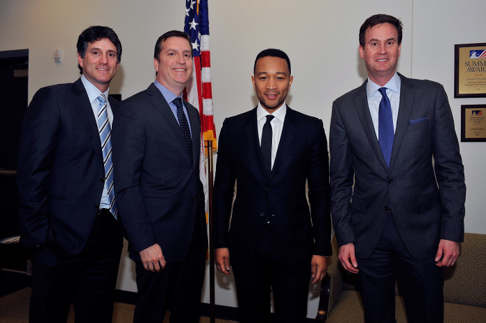 "WASHINGTON, DC - FEBRUARY 22: (L-R) President programming and production Sony Pictures Television Jamie Ehrlicht, president WGN America Matt Cherniss, executive producer John Legend and president programming and production Sony Pictures Television Zack Van Amburg appear at a screening of WGN America's ""Underground"" at The White House on February 22, 2016 in Washington, DC. (Photo by Larry French/Getty Images for WGN America) *** Local Caption *** Jamie Ehrlicht; Matt Cherniss; John Legend; Zack VanAmburg"